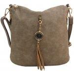 Najlacnejšie crossbody dámska kabelka s bočnými vreckami 2494-BB prírodná hnedá